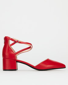 Bata Red Label Pointy Ankle Strap Red