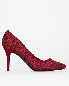 Bata Red Label Lace Stilettos Heels Red