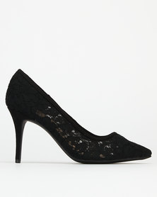 Bata Red Label Lace Stilettos Heels Black