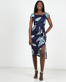 Bailey Palm Leaf Off Shoulder Dress - Dark Blue