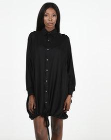 herRitual Mihlali Shirt Dress Black Rayon Twill