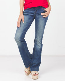 Utopia Flare Leg Jeans With Belt Blue
