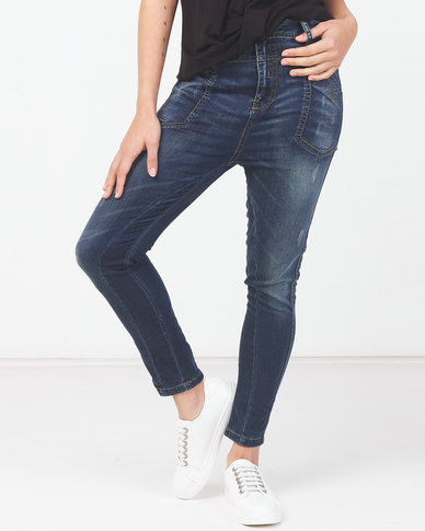 Utopia Acid Wash Skinny Leg Jeans Blue