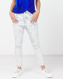 Utopia Acid Wash Skinny Leg Jeans Blue
