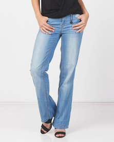 Utopia Light Wash Extreme Flare Leg Jeans With Belt Blue