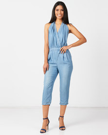 Utopia Mid Wash Denim Jumpsuit With Belt Blue
