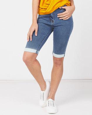 Utopia Ladies Denim Bermuda Shorts Blue