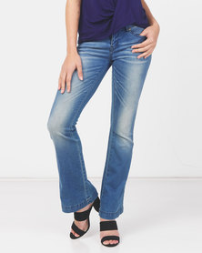 Utopia Mid Wash Flare Leg Jeans With Belt Blue