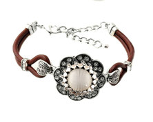 Urban Charm Snap Creations Genuine leather bracelet set with Snap - Goddess - Brown