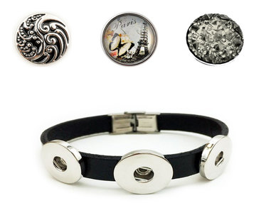 Urban Charm Snap Creations Paris Three Snap Bracelet Set - Black