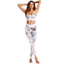 Terra Array White Blossom Tights & Sports Bra Set