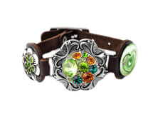 Urban Charm Snap Creations Ornate Bracelet on Leather with Three Snaps - Dark Brown
