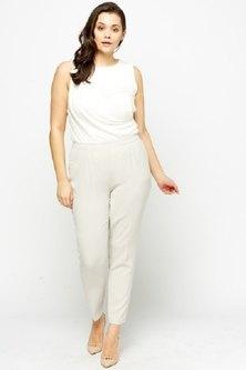 TeMooi Elasticated Cigarette Trousers Light Grey