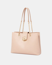 Forever New Daria Circle Lock Shopper Nude