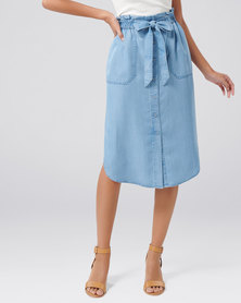 Forever New Elodie Button Through Midi Skirt Light Wash