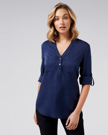 Forever New Mika Popover Roll Sleeve Shirt Navy