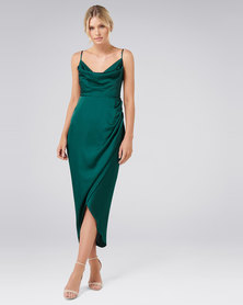 Forever New Holly Cowl Neck Dress Deep Ivy