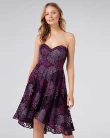 Forever New Heaven Lace Strapless Prom Purple