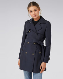 Forever New Aaliyah Trench Navy