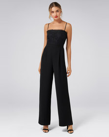 Forever New Bailey Lace Bodice Jumpsuit Black