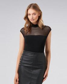 Forever New Vera Grown On Shoulder Mesh Bodysuit Black