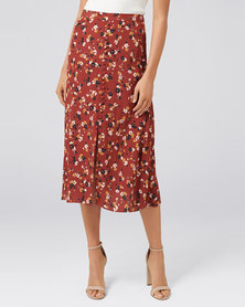Forever New Stella Button Front Midi Skirt Vintage Rust