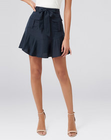 Forever New Tamika Pocket Front Flippy Skirt Navy