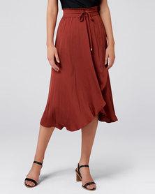 Forever New Chloe Wrap Elastic Skirt Rust