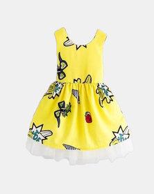 MM Berry Summer Girls Cartoon Print Backless Bow Dress - Yellow