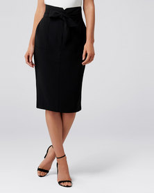 Forever New Olivia Satin Crepe Pencil Skirt Black