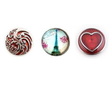 Urban Charm Interchangeable snap button Set of 3 - Paris LOVE - Red