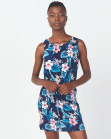 Utopia Tropical Print Tunic Dress Navy