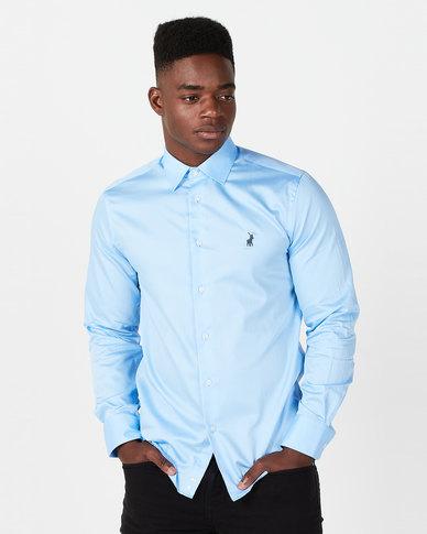 Polo Mens Custom Fit Greig Shirt Light Blue