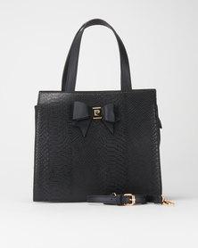 Pierre Cardin Becca Structured Croc Crossbody Bag Black