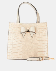 Pierre Cardin Becca Structured Croc Crossbody Bag Taupe