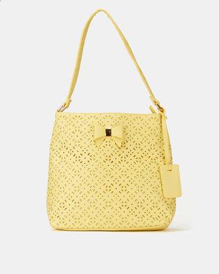 Pierre Cardin Cassandra Cut-Out Bucket Bag Yellow