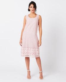 Queenspark Lattice Detail Tea Dress Pink