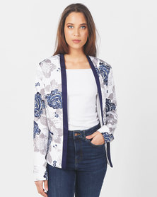 Queenspark 3D Rose Design Woven Jacket White