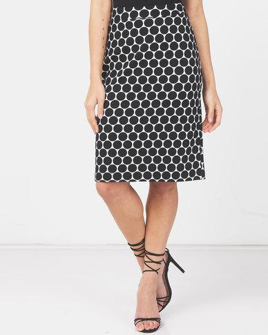 Queenspark New Spot Crepe Woven Skirt Black/White