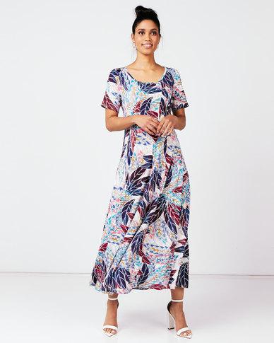 Queenspark Leaf Print Fit & Flare Panel Knit Dress Blue