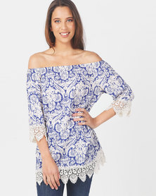 Queenspark Floral Printed Woven Blouse Blue