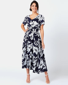 Queenspark Maxi Floral Print Design Woven Dress Blue