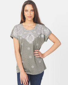 Queenspark Fancy Print Design Short Sleeve Knit Top Sage