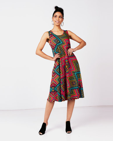 Queenspark Pep It Up Popover Knit Dress Multi