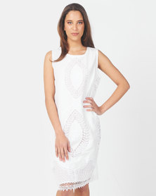 Queenspark Embroidered Sleeveless Woven Dress White