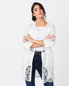 Queenspark Fancy Embroidered Long Jacket White