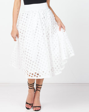 Queenspark Ra Ra Cut-Out Glam Knit Skirt White