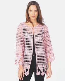 Queenspark Border Design Lace Woven Jacket Pink