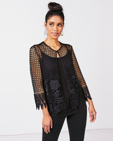 Queenspark New Edge To Edge Lace Woven Jacket Black