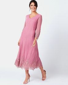 Queenspark Lace & Iron-On Detail Mesh Fit & Flare Dress  Pink